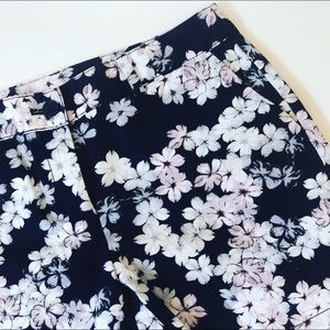 Ann Taylor Floral Shorts Navy Pink Hibiscus 6
